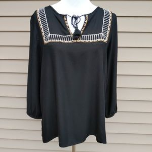 Old Navy| Blouse Tunic Black Embroidered Peasant